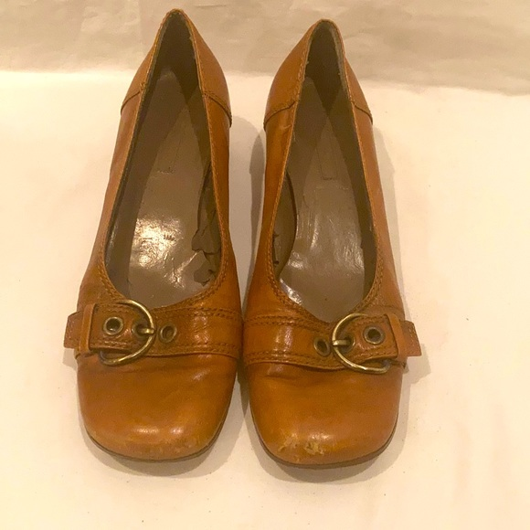 90/'s Brown Suede Leather Flats  Square Toe  Size 9